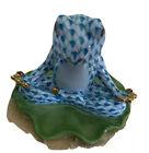 🇺🇸 Herend Seated Yoga Frog Figurine Turquoise Fishnet 5793 SVHTQ