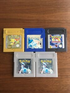 5 X Pokemon Game Boy Games Silver Gold Blue Trading Card NEW Batteries