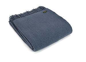TWEEDMILL TEXTILES SOFA BED THROW BLANKET  100% PURE WOOL - WAFER BLUEBERRY