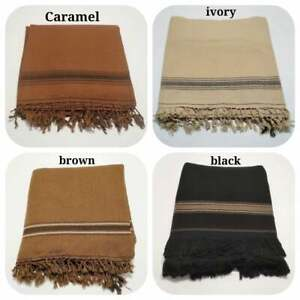 AFGHAN PATOO HANDMADE WARM SAWATI WOOL SOLID PASHTUN SHAWL SCARF WRAP MENS WOMEN