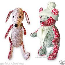 "2 x Sewing PATTERNS Jingle Bear 13"" Christmas Teddy & Dainty Dachshund 12"" Dog"