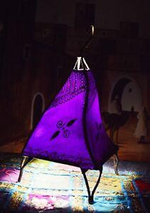 Moroccan Floor Lamp Henna Goat Skin Handmade Decorative Home Decor Small Purple
