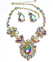 AB Rhinestone Necklace Earring Set Crystal
