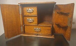 Antique Wood Edwardian Tobacco Pipe Smoking Cabinet c. 1910