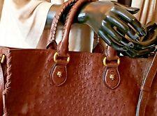 Gucci Auth Brown Genuine Ostrich Leather/Brass Feline Detail XL Crossbody Bag