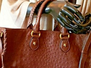 Gucci Animalier Genuine Ostrich Leather Brass Hardware Crossbody Messenger Bag L