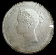 More details for 1838 royal society queen's medal 72mm silver cased - by wyon