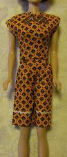 Vintage 60's Barbie Doll Cut n Sew 2 Pc Orange Brown Short Top Blouse Set ExcNM