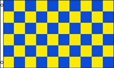 3'x5' CHECKERED FLAG YELLOW & BLUE OUTDOOR INDOOR BANNER PENNANT SPORTS HUGE 3X5