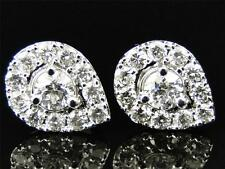 White Gold Round Cut Pear Tear Drop Diamond 15 MM Solitaire Stud Earrings 2 Ct