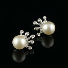 14k white Gold plated crown crystals pearl stud earrings with Swarovski elements
