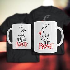 Beauty and the Beast Set of 2 Mugs 11oz Coffee Tea Mug Wedding Anniversary Gift