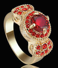Size 8 Wedding Ruby Ring White CZ Circle Promise Women's 10kt Yellow Gold Filled
