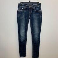 Miss Me Womens Signature Skinny Jeans Blue Dark Wash Fleur De Lis Embellished 24