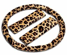 Zone Tech Animal Cheetah Design Car Steering Wheel Cover with Shoulder Pad