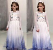 2019 New Girls Frozen 2 White Elsa Costume Party Birthday Dress + Cape 2-12 Yrs
