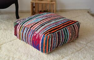 Moroccan blue handmade pouf, Boucherouite Pouf, Moroccan floor cushion, Ottoman