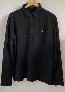 Farah Vintage Long Sleeve Polo Size L Large Black