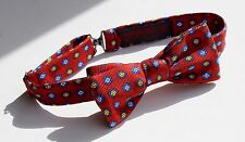 Bow Tie Club Red, Blue, & Yellow Floral Adjustable Pre-Tied Silk Bow Tie - USA