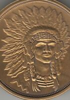 Chief coin style keychain full headdress antiqued bronze