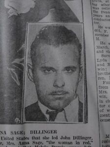 OCT 2, 1935 NEWSPAPER PAGE #J7555- FEDERAL AGENTS DOUBLE-CROSSED JOHN DILLINGER