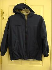 Women's Northern Reflections Reversible Hooded Blue & Plaid Zipper Jacket Size M