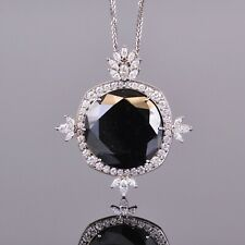 Black and White Diamond Pendant in 18k WG