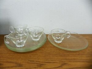 INDIANA (?) Glass Clear Smooth Patio TV Tea Coffee Sip & Smoke Snack Set for 4
