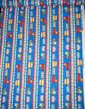 Christmas Toy Train Stripe Blue Cotton Fabric Wilmington Holiday Express - Yard