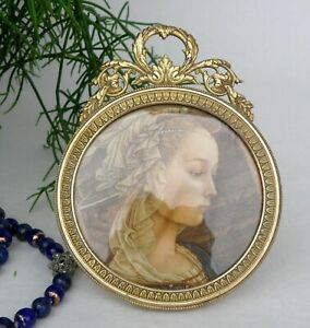 Antique French Bronze Picture Frame Nap. 3 Round Form
