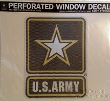 """Army 12"""" Large Perforated Auto Home Window Film Decal United States Military"""