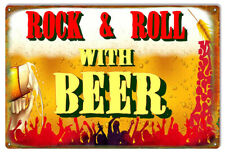 Vintage Antique Style Metal Sign Rock Roll Beer 12x18
