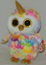 """New! 2018 Summer Release Ty Beanie Boos ENCHANTED tie dyed OWL 6"""" new foil look"""