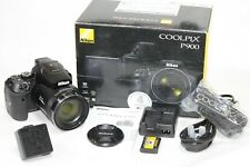 Fantastic boxed NIKON COOLPIX P900 'Bridge' Camera 24-2000mm lens 16mp + Extras