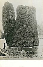 A View of A Man In A Suit Fishing By the Devil's Teapot, Spokane WA RPPC 1908