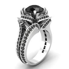 Certified 3.20ctRound Black Diamond Flower Lotus Engagement Ring 14KT White Gold