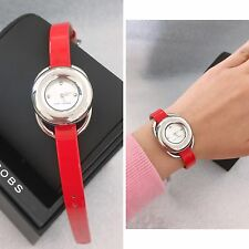 Marc Jacobs Women's Jerrie MJ1444 Red Leather Quartz Watch Free Ship