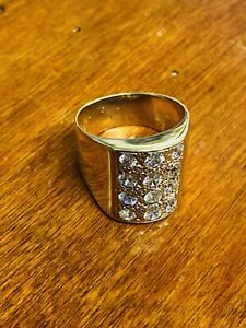 9ct 9k Yellow Gold Mens Gents Sparkly Ring Size W Hallmarked