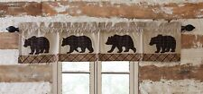 WYATT Bear Valance Rustic Cabin Lodge Khaki Chambray Hunting Woods Lined 16x90