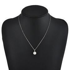 Fashion Women White Pearls Pendant Silver Chain Bib Choker Statement Necklace