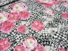 Stoff Viskose Jersey Blumen Rosen abstrakt rosa grau schwarz weiß Kleiderstoff