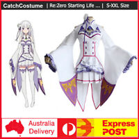 Re:ZERO-Starting Life in Another World Emilia Cosplay Costume Outfit Gown Dress