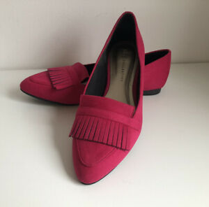 M&S Collection Size 7 Hot Pink Suede Flat Fringe Pumps Shoes Comfort