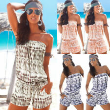 Womens Holiday Mini Playsuit Ladies Bikini Cover Up Jumpsuit Summer Beach Dress