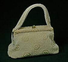 Vintage Lumured Corde Cream And Clear Beaded Handbag Purse 1950s
