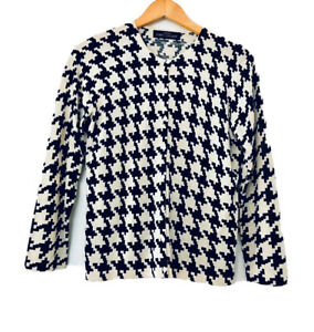 VTG Bloomingdales Petite Concepts Womens PS Houndstooth Print Cardigan Sweater