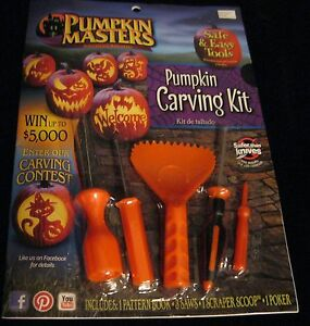 PUMPKIN MASTERS CARVING KIT PATTERN BOOK SMELL MY FEET 5 TOOLS HALLOWEEN NEW!