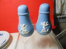Wedgwood Light Blue Jasperware Salt & Pepper Shakers Unique Shape Look Wow