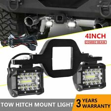2.5'' Tow Hitch Mount Bracket + 4'' LED Work Light Pods Pickup Truck SUV + Wire