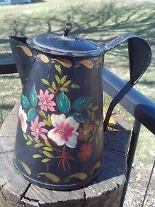 tin toleware tea coffee pot tole hand painted old original 1800s antique